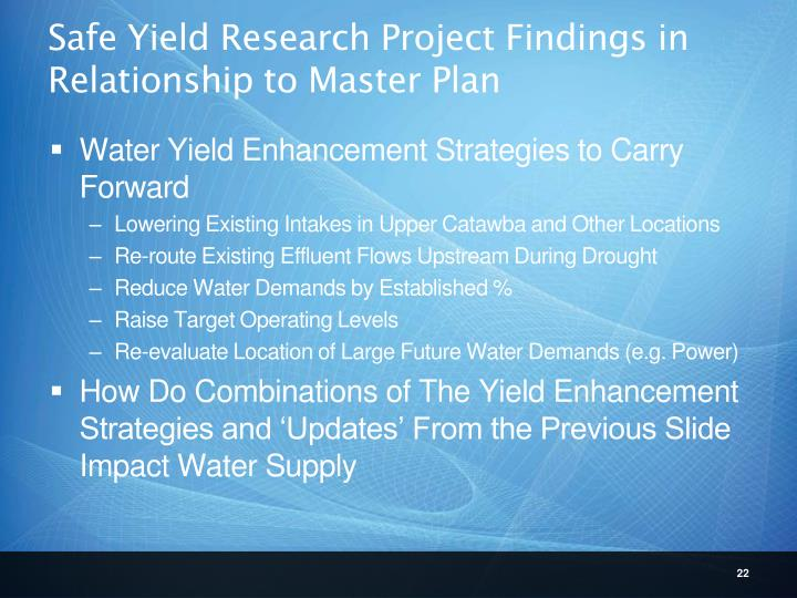 Safe Yield Research Project Findings in Relationship to Master Plan