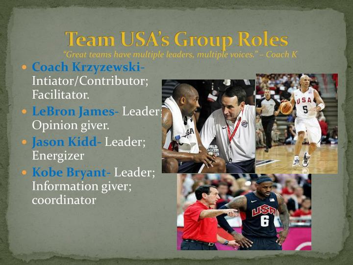 Team USA's Group Roles