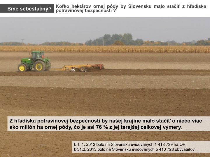 Koľko hektárov ornej pôdy by Slovensku malo stačiť z hľadiska potravinovej bezpečnosti ?