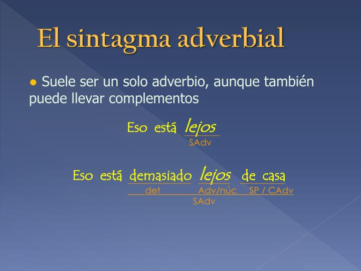 El sintagma adverbial