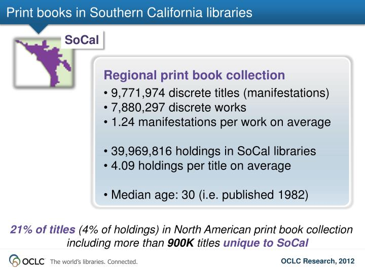 Print books in Southern California libraries