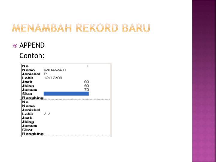 MENAMBAH REKORD BARU