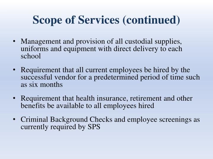 Scope of Services (continued)