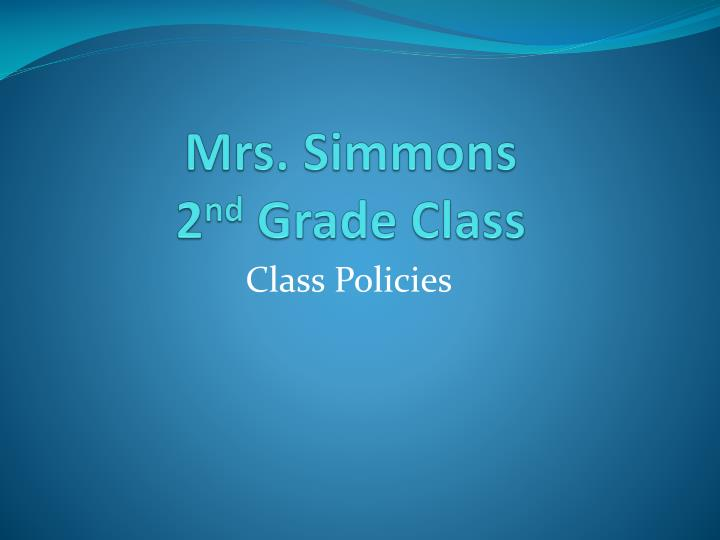 Mrs simmons 2 nd grade class