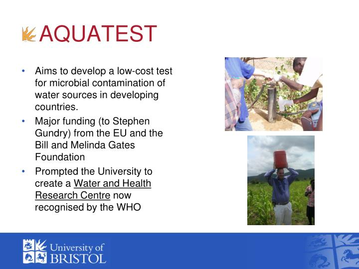 Aims to develop a low-cost test for microbial contamination of water sources in developing countries.