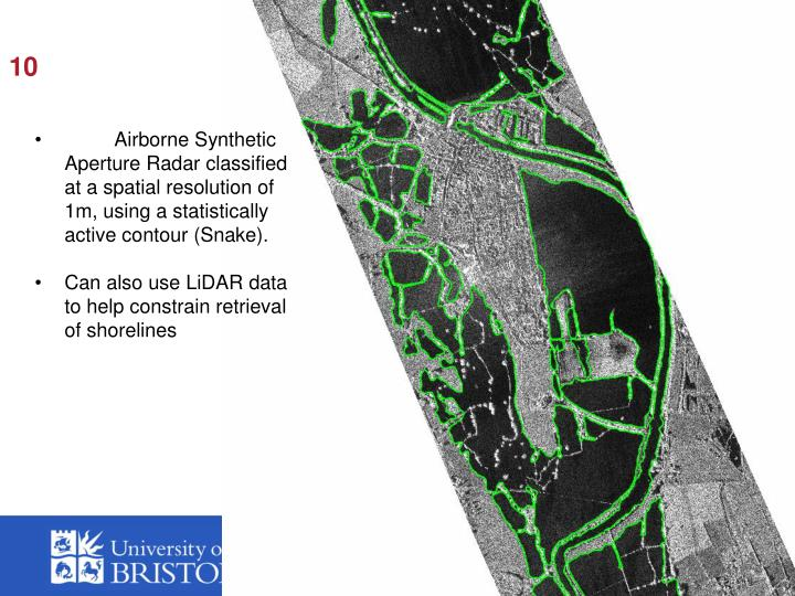 Airborne Synthetic Aperture Radar classified at a spatial resolution of 1m, using a statistically active contour (Snake).