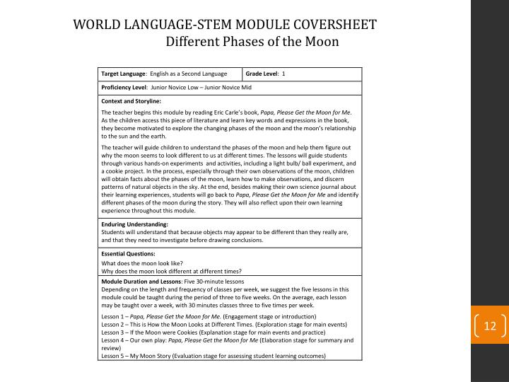 WORLD LANGUAGE-STEM MODULE COVERSHEET
