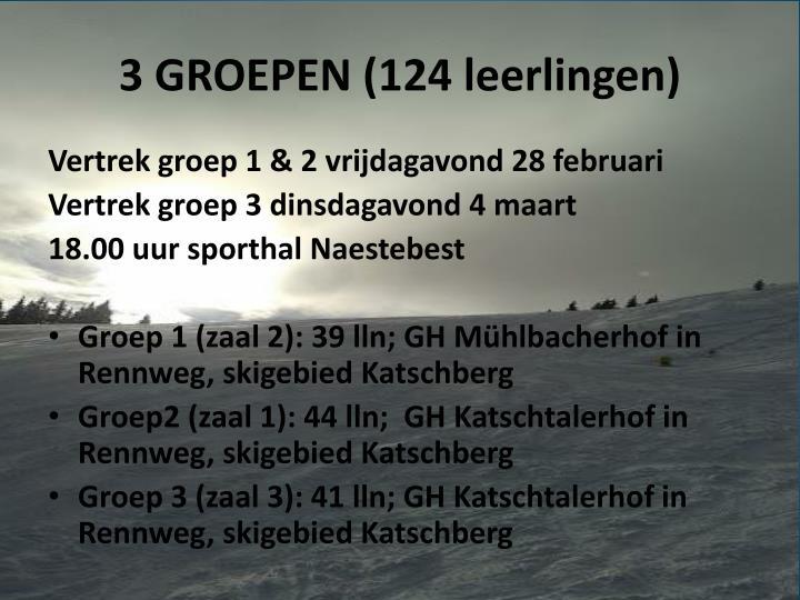 3 GROEPEN (124 leerlingen)