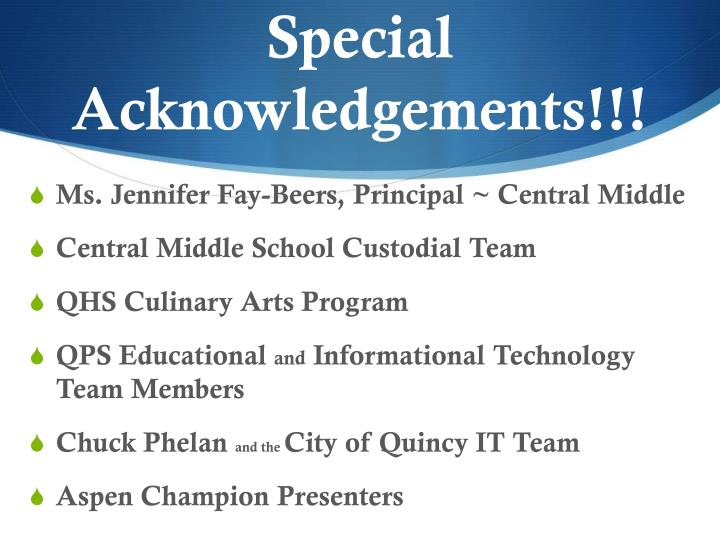Special   Acknowledgements!!!
