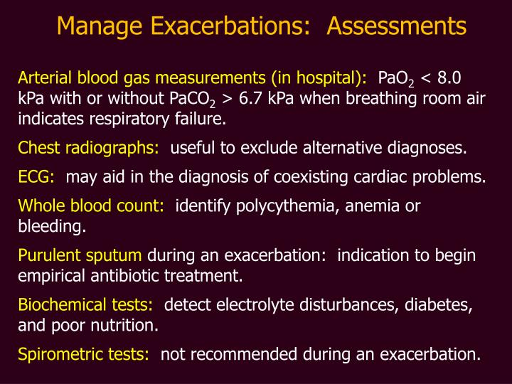 Manage Exacerbations:  Assessments