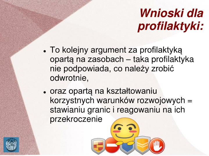 Wnioski dla profilaktyki: