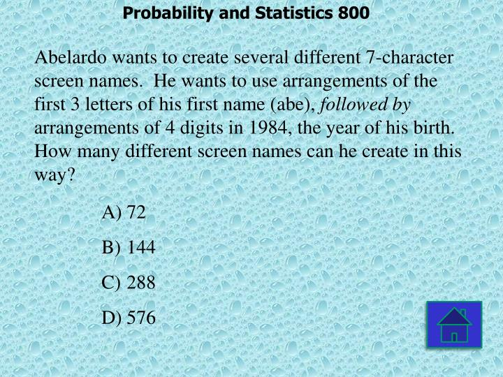 Probability and Statistics 800