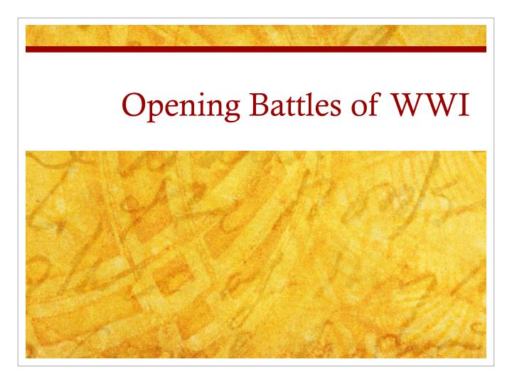 opening battles of wwi