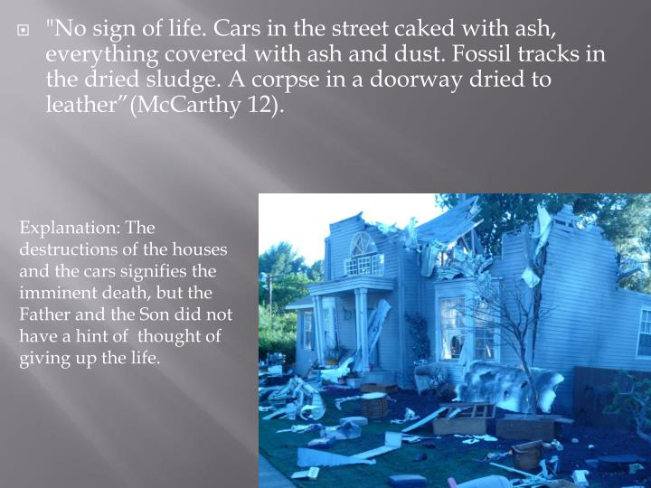 """""""No sign of life. Cars in the street caked with ash, everything covered with ash and dust. Fossil tracks in the dried sludge. A corpse"""