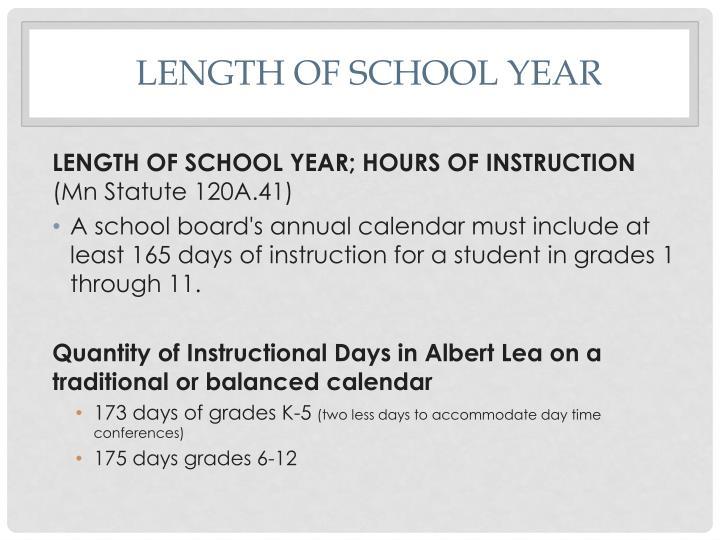 Length of school year
