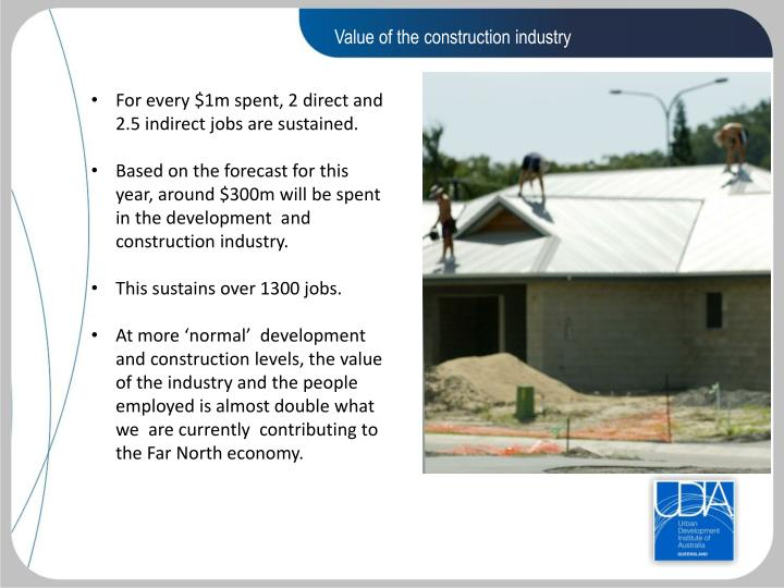 Value of the construction industry