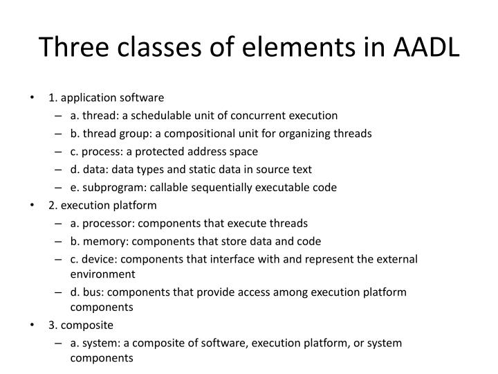 Three classes of elements in AADL