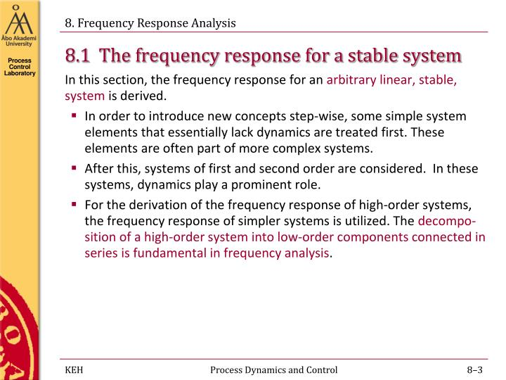 8 1 the frequency response for a stable system