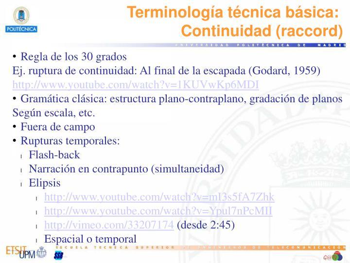 Terminología técnica básica: