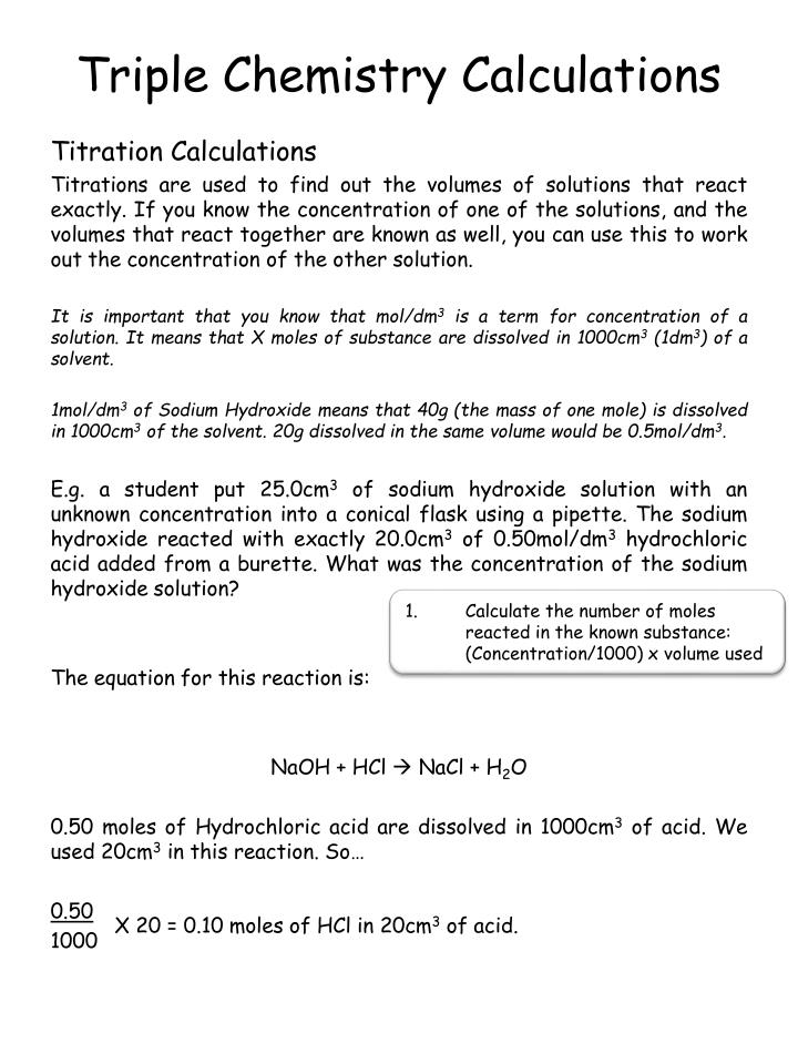 Triple Chemistry Calculations