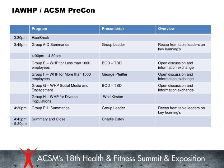 IAWHP / ACSM PreCon