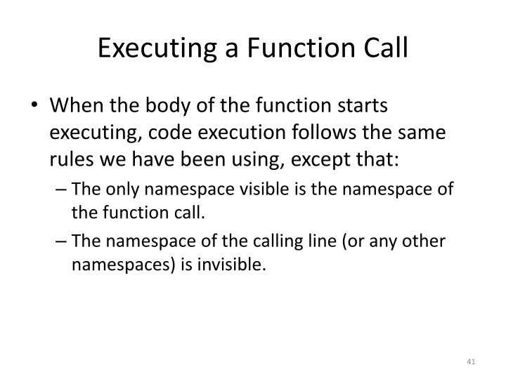 Executing a Function Call