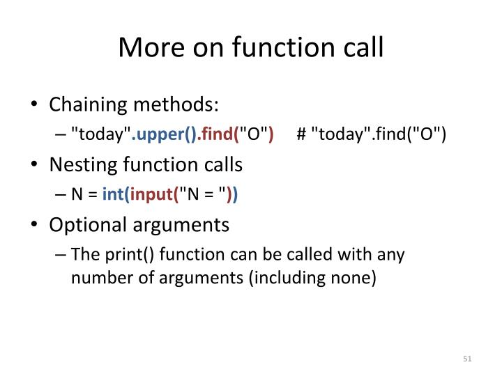 More on function call