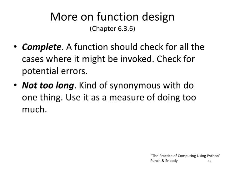 More on function design