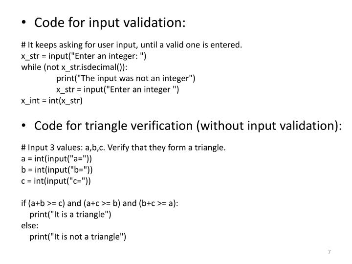 Code for input validation: