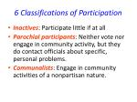 6 classifications of participation