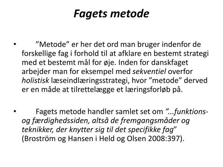 Fagets metode