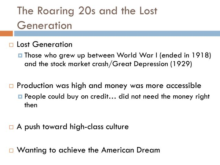 The Roaring 20s and the Lost Generation
