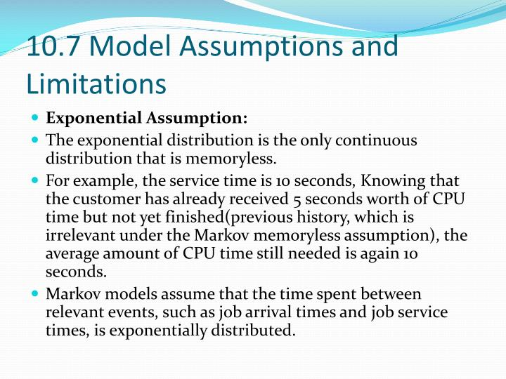 10.7 Model Assumptions and Limitations