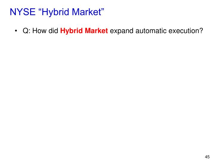 "NYSE ""Hybrid Market"""