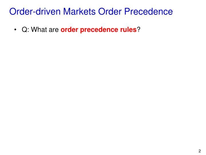 Order-driven Markets Order Precedence