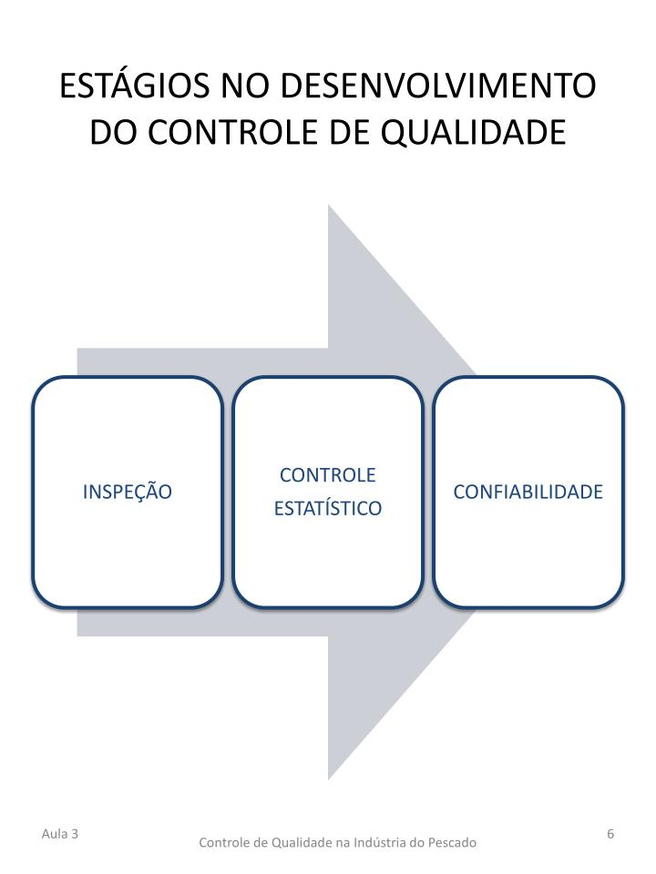 ESTÁGIOS NO DESENVOLVIMENTO DO CONTROLE DE QUALIDADE