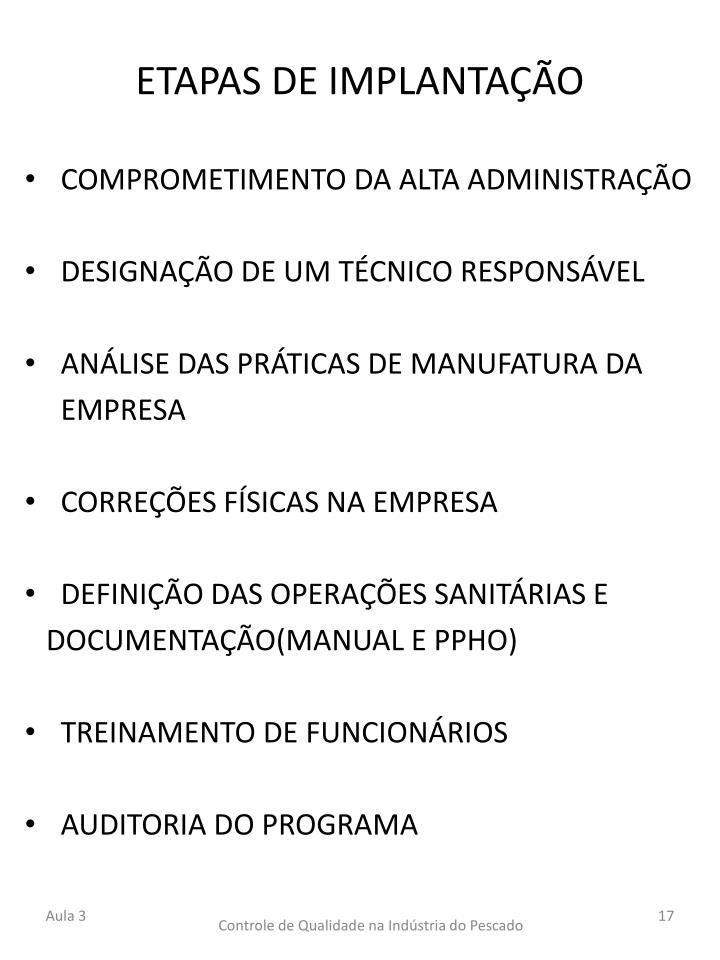 ETAPAS DE IMPLANTAÇÃO