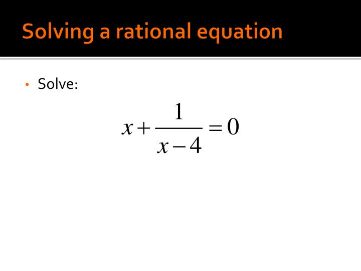 Solving a rational equation