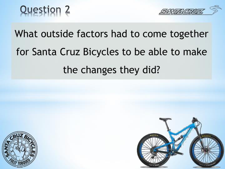 What outside factors had to come together for Santa Cruz Bicycles to be able to make the changes they did?