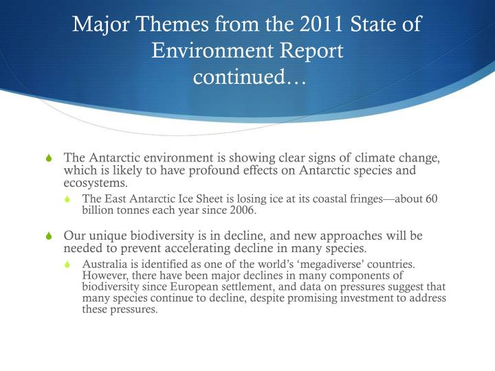 Major Themes from the 2011 State of Environment Report