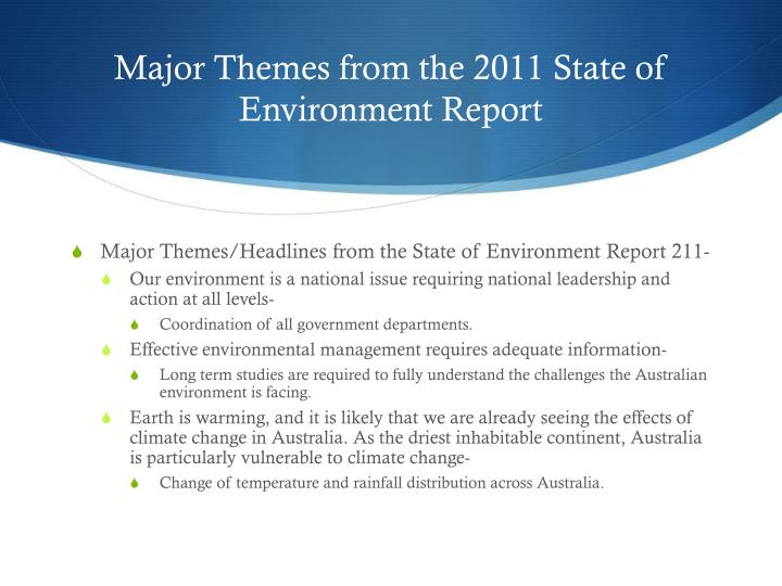 Major Themes from the 2011 State of Environment