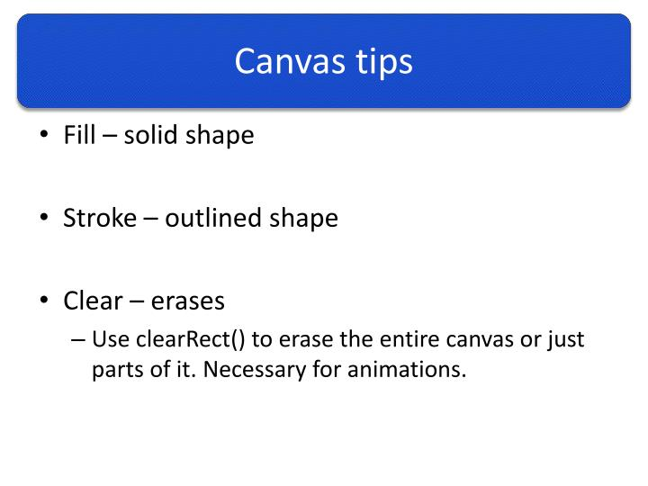 Canvas tips