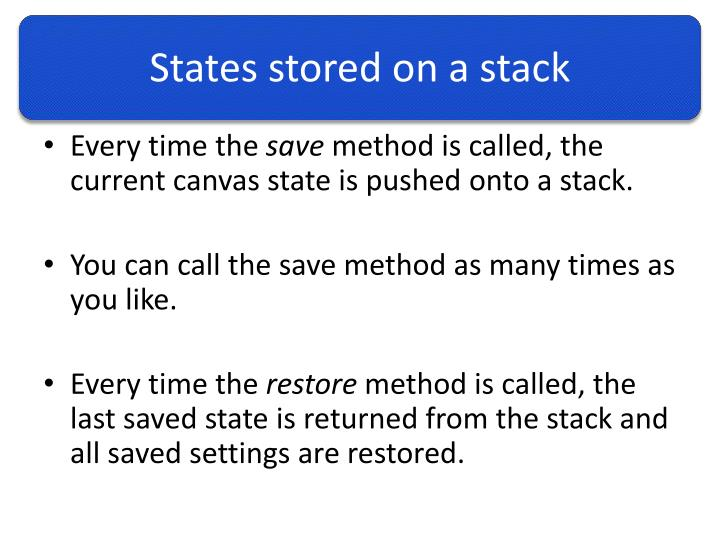 States stored on a stack