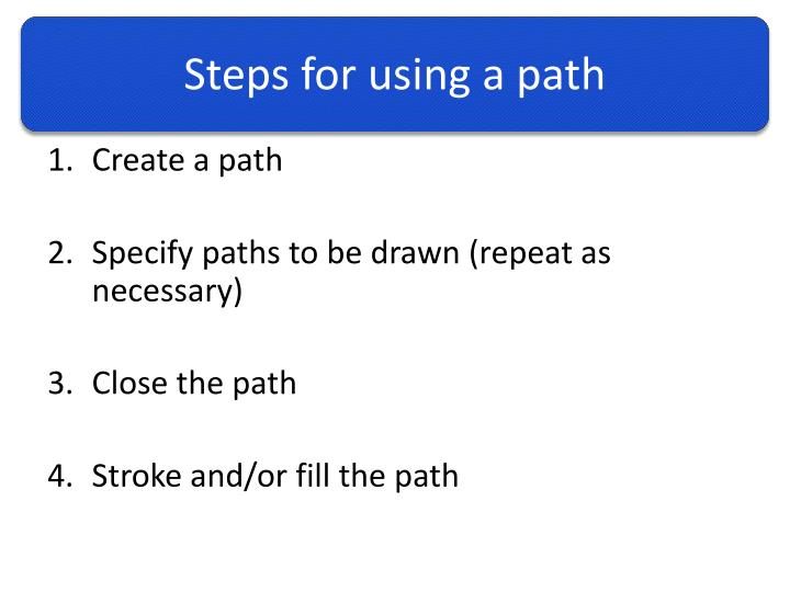Steps for using a path