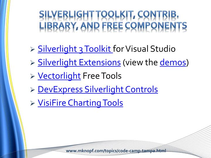 Silverlight Toolkit, Contrib. Library, and Free components