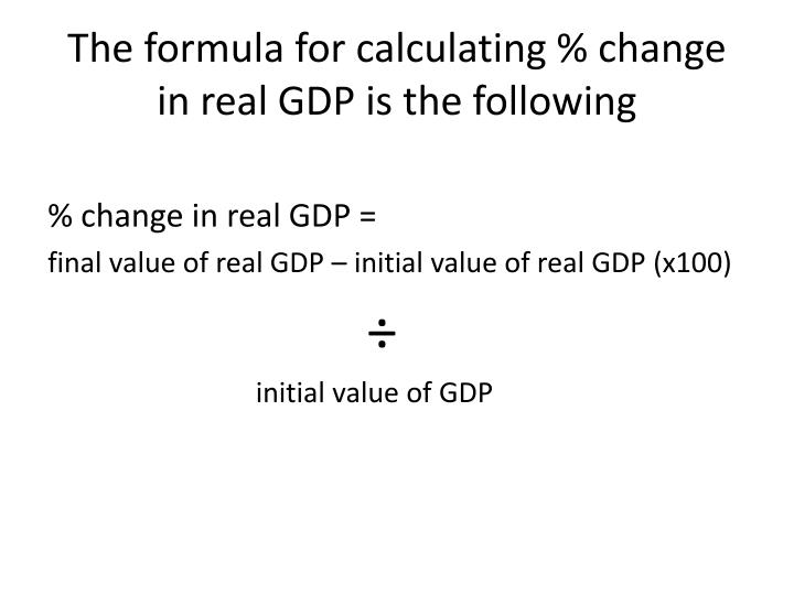 The formula for calculating change in real gdp is the following