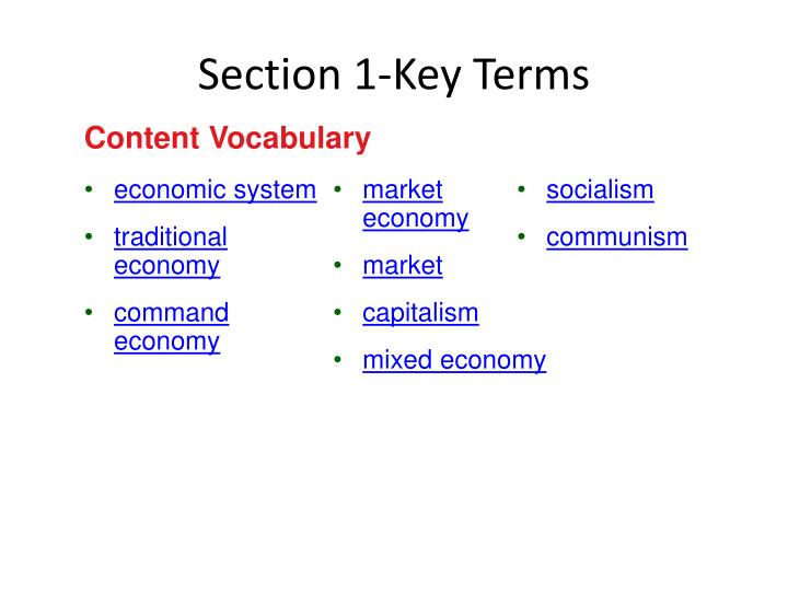 Section 1 key terms
