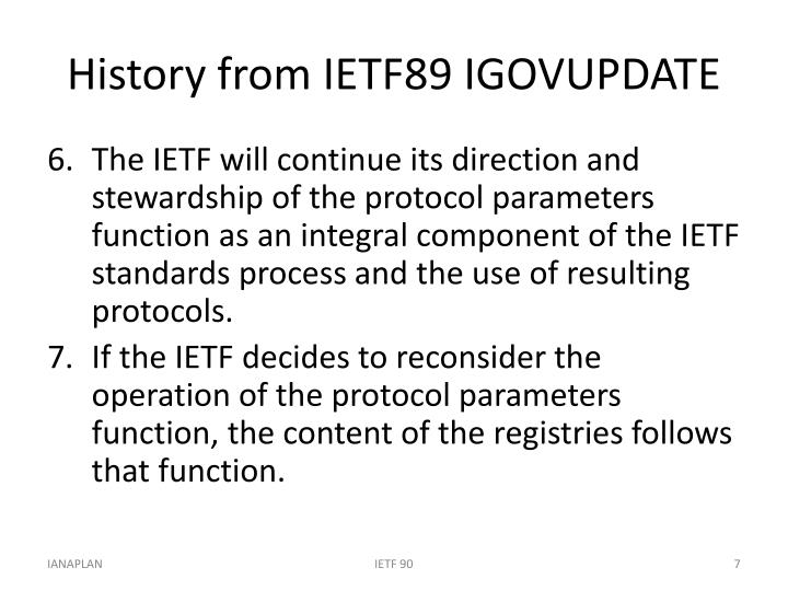 History from IETF89 IGOVUPDATE