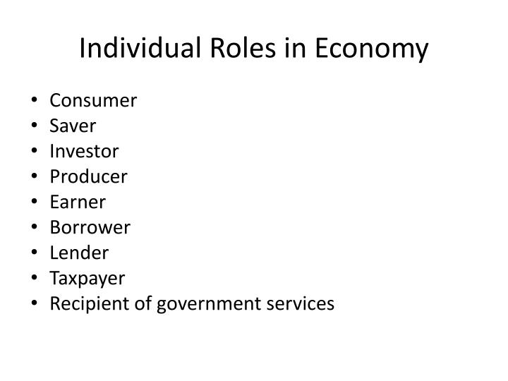 Individual roles in economy