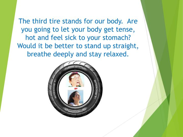 The third tire stands for our body.  Are
